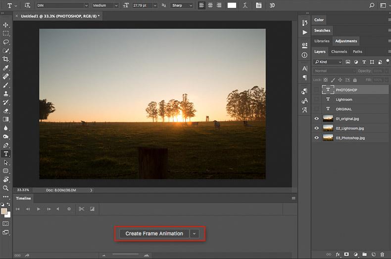 como fazer gif no photoshop